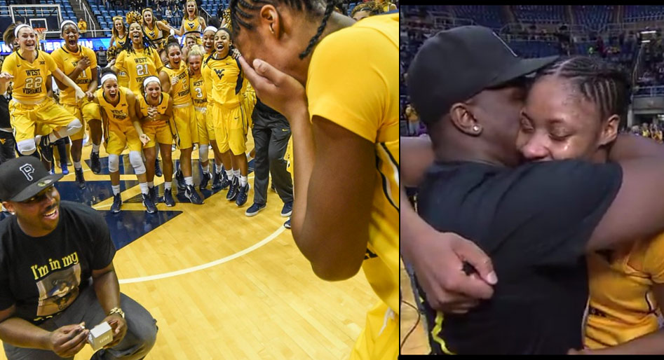 WVU's Bria Holmes Scores 27 Then Gets Engaged During Postgame Interview