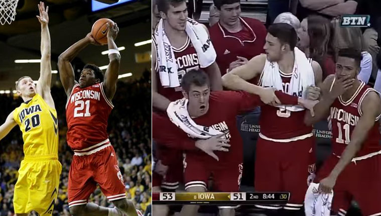 """Watch The Wisconsin Bench Erupt After Khalil Iverson's """"2-Hand Windmill"""" Dunk"""