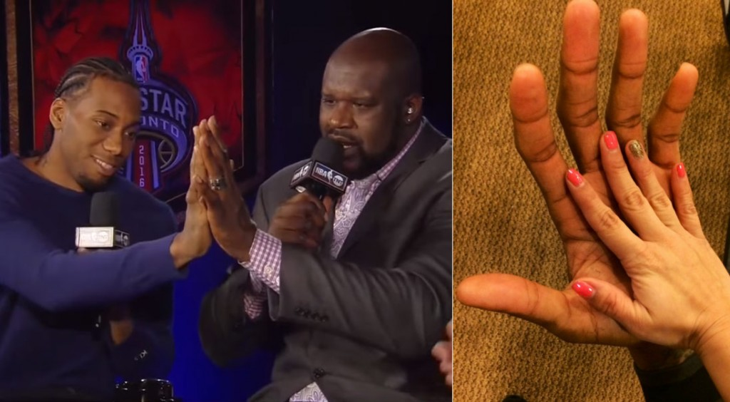 Kawhi Leonard's Claws Are Almost As Big As Shaq's Hands