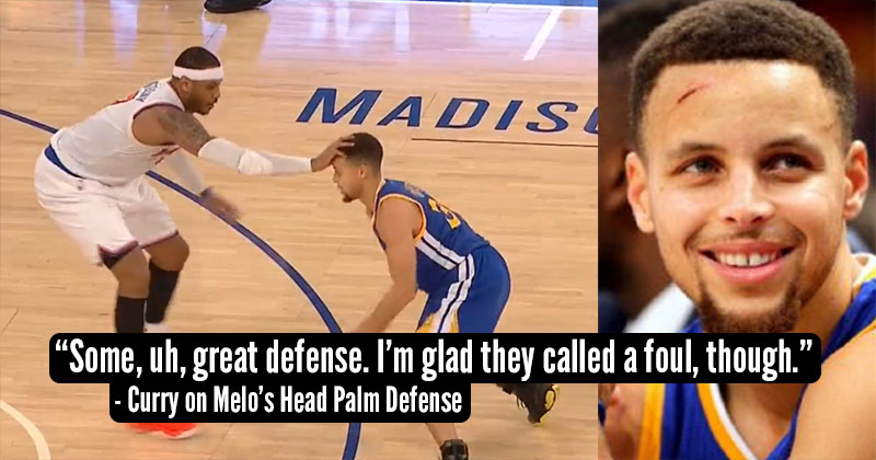 Carmelo Anthony Scratches Steph Curry's Face With Head Palm Defense