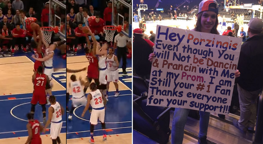 Kristaps Porzingis Nasty Rejections Vs The Heat, Nice Prom Rejection To Knicks Fan