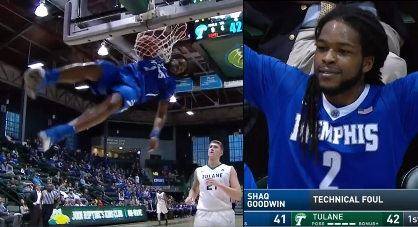 Refs Call A Tech on Shaq Goodwin For Doing Vince Carter's Elbow Dunk In A Game