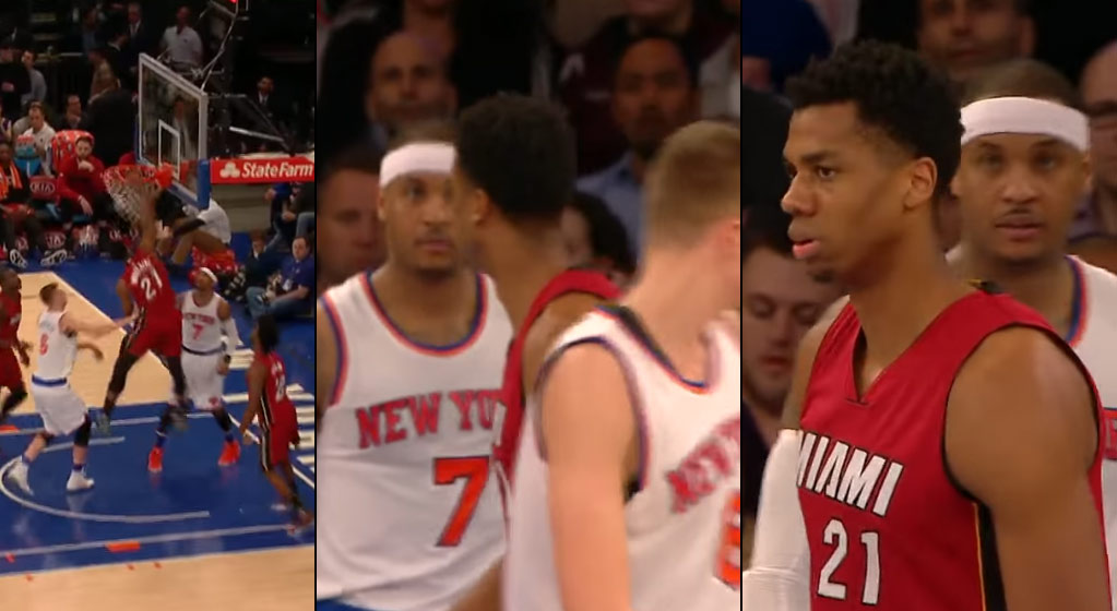 Hassan Whiteside Dunks & Stares Down A Shocked Looking Melo