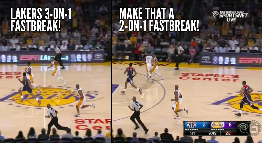 D'Angelo Russell Stops His Own Teammate On A 3-on-1 Fastbreak