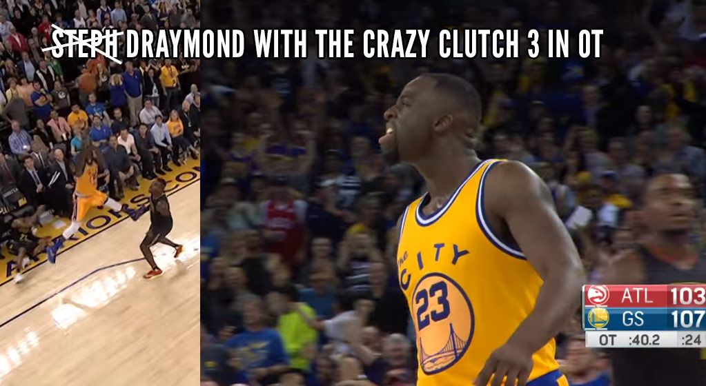 Without Curry, Draymond Green Does His Best Steph Curry Impersonation in OT