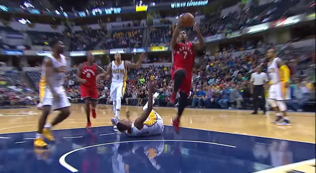 Kyle Lowry Drops Myles Turner To the Ground