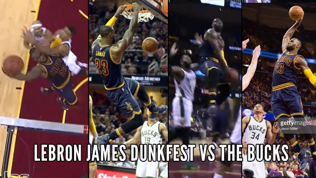 "LeBron James Dunks Over The Greek Freak & Throws Down An ""Officially Insane"" Reverse Dunk In Traffic"