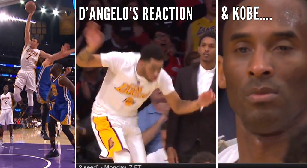 Kobe Bryant Is Not Amused By Nance's Dunk or D'Angelo Russell's Celebration