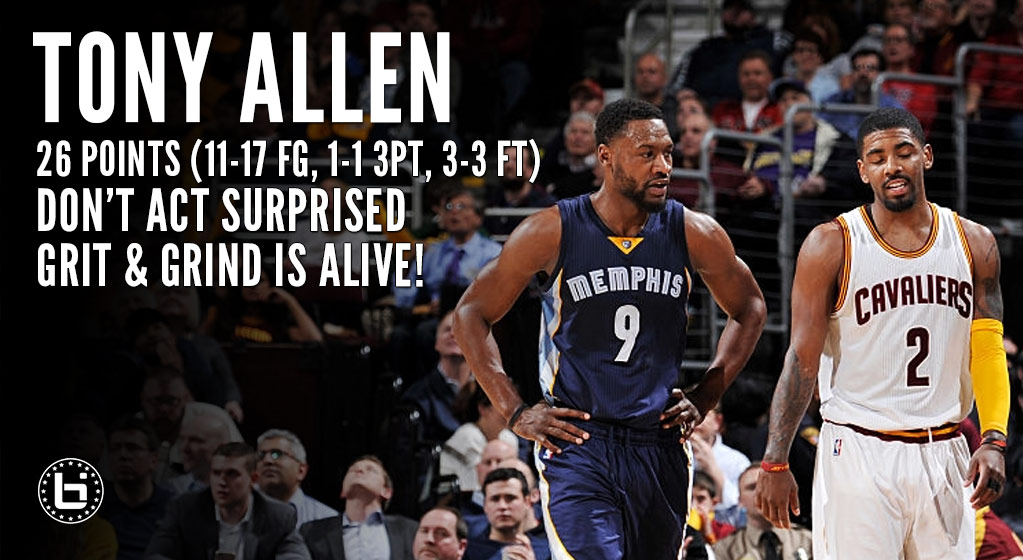 Tony Allen Turns Back The Hands Of Time, Scores 26 In Win Vs The Cavs