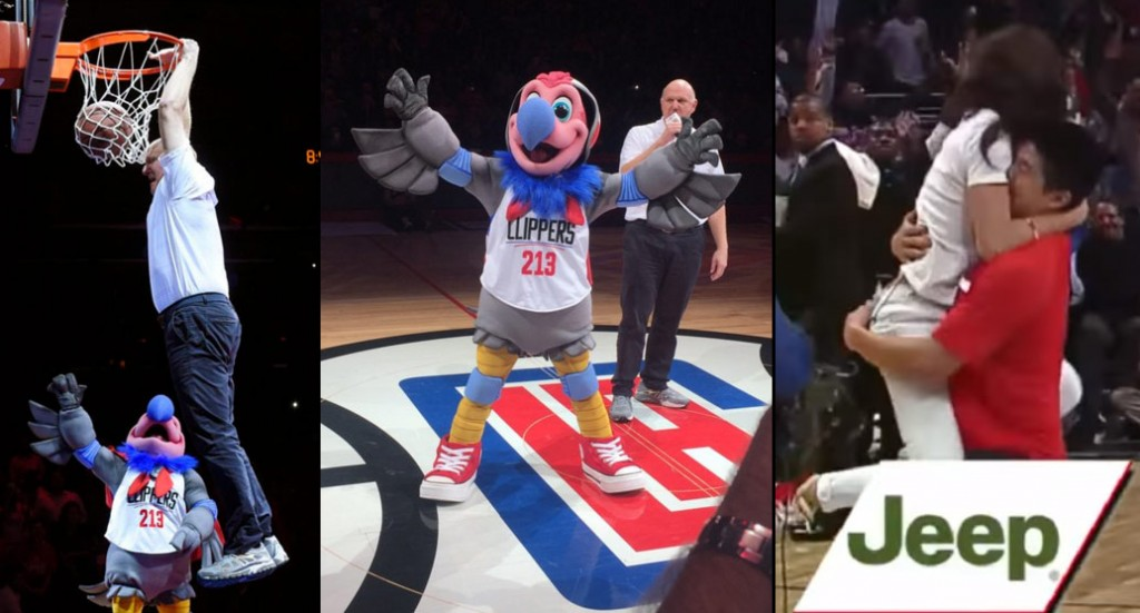 3 Biggest WTF Moments From the Clippers/Nets Half-Time: New Mascot, Dunking Owner, Lucky Fan