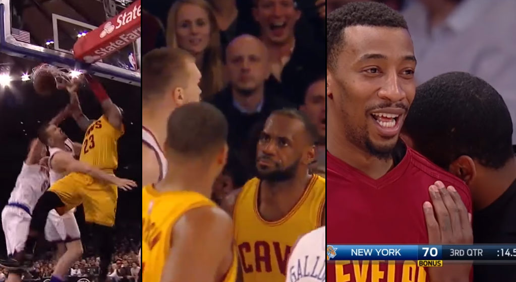 LeBron Gets A Tech For Staring Down Former Teammate Lou Amundson After Dunking On Him & Porzingis