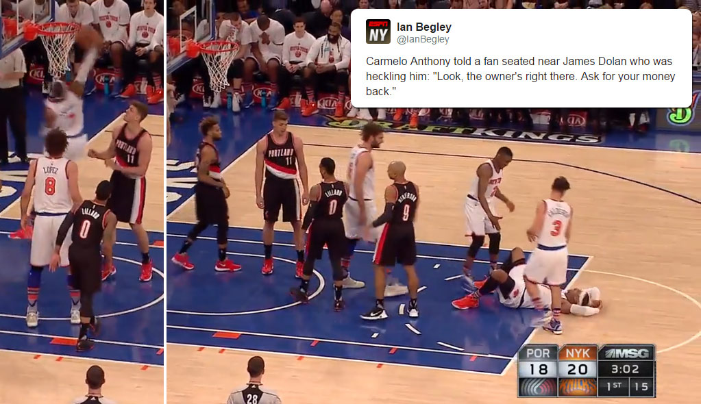 Carmelo Anthony Gets Rejected By the Rim, Tells Fan He Should Ask For A Refund