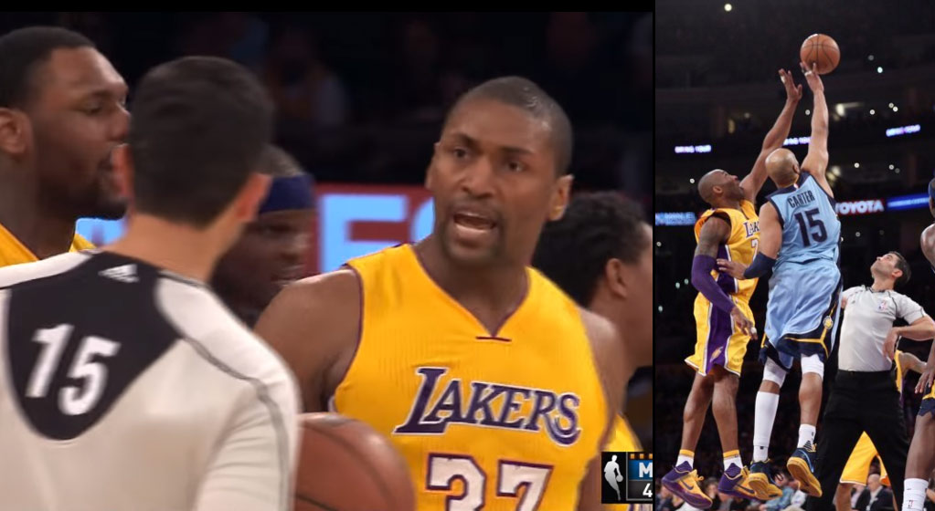 Metta World Peace Gets Ejected, Grizzlies Choose Kobe To Replace Him For A Jump-Ball Against Vince Carter