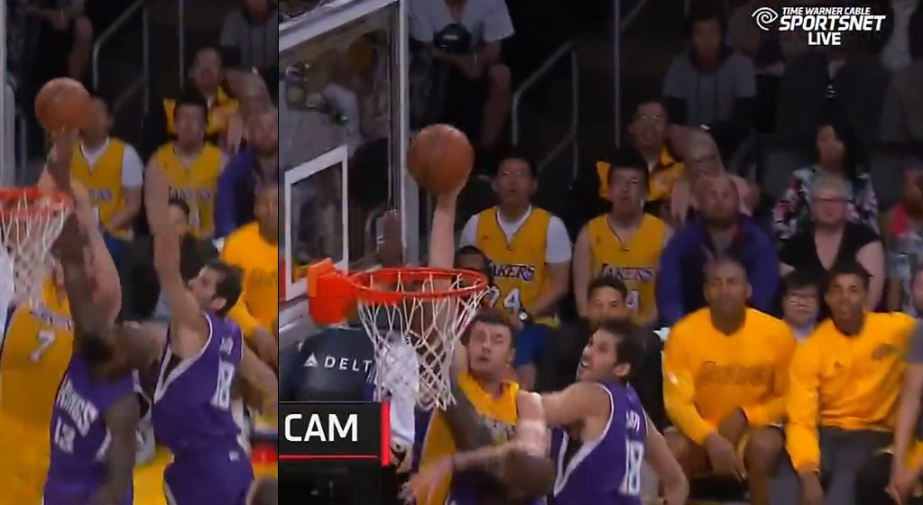 Marcelo Huertas dishes to Larry Nance Jr For The Dunk On Quincy Acy