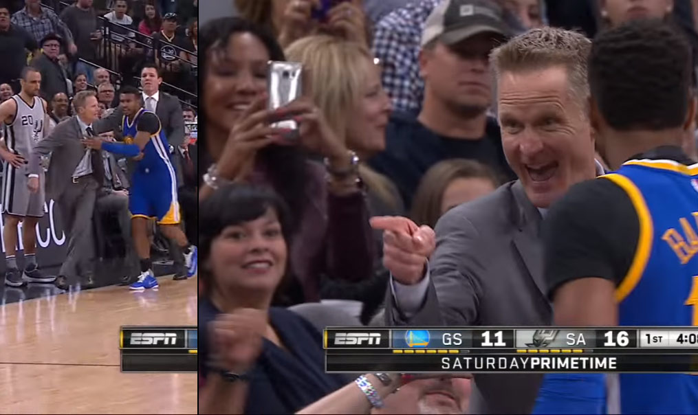 Steve Kerr Blows Up At The Refs (On Purpose) Then Smiles & Points