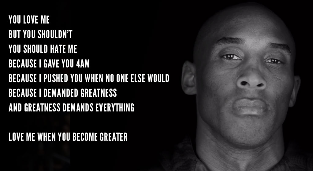 Its Only Fitting That Kobes Last Nike Commercial As A Nba Player Would Be Titled Dont Love Me Hate Me Considering His First Nike Commercial Back