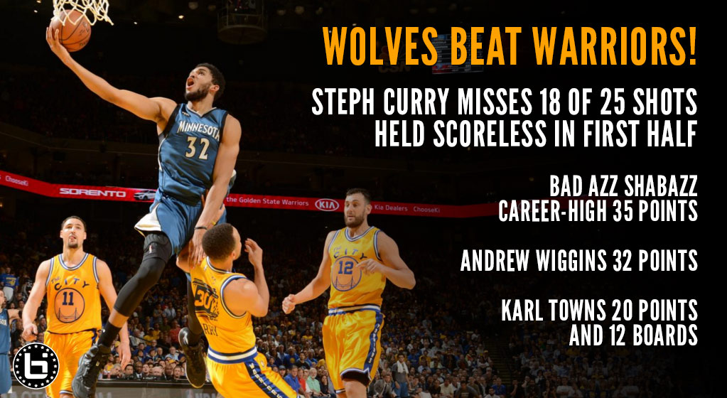 Wolves Beat Warriors in OT, Curry Held Scoreless in First Half
