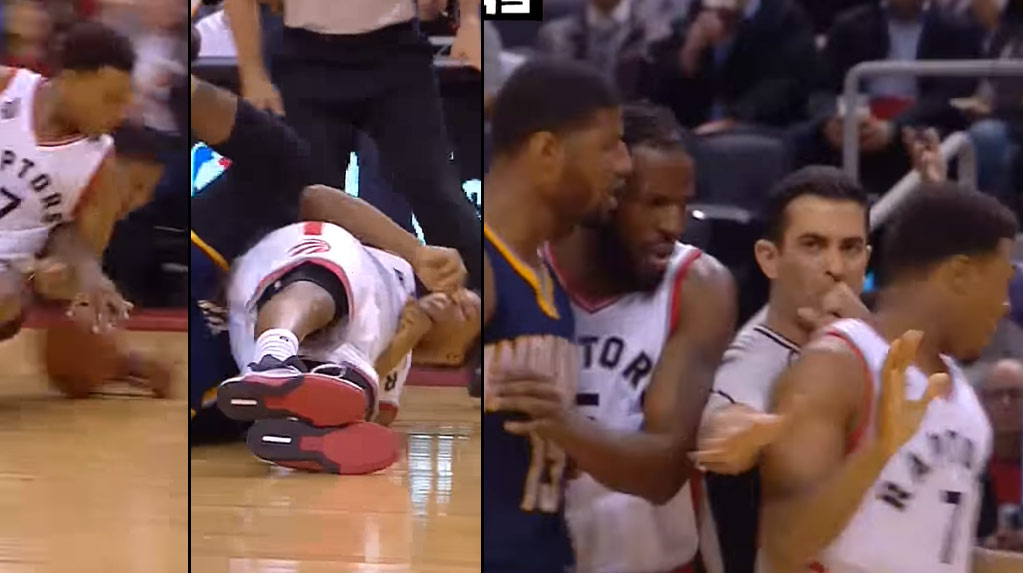 Paul George Took Exception To Kyle Lowry Falling On His Arm, Picks Up A Tech