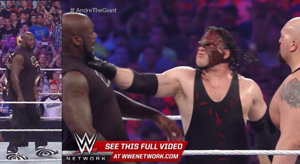 Shaq Got Choked While Wearing his Shaqnosis Sneakers at WrestleMania 32
