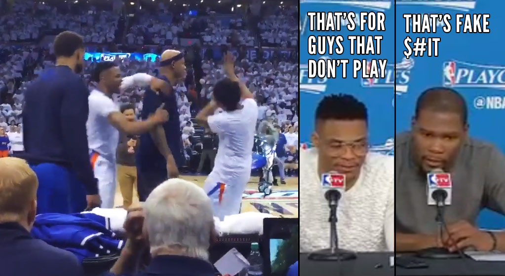 "Russell Westbrook Pushes Mavs For Interrupting His Pregame Dance, KD Calls It ""Fake $#it"""