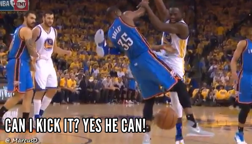 Draymond Green Gets Away With Kicking Durant, Almost Kicking Westbrook & Roberson In The Face During GM5