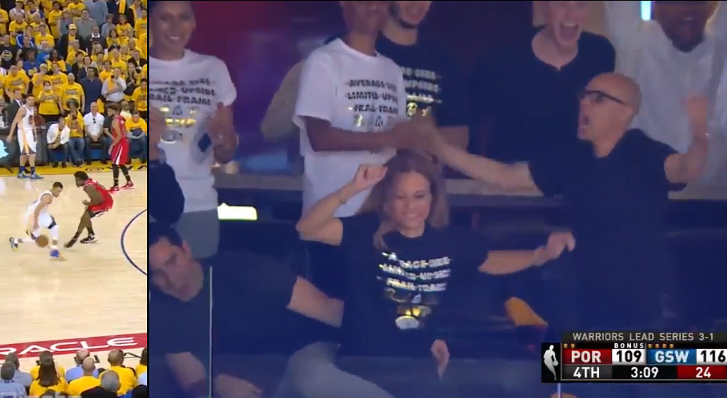 Steph Curry's Mom Shaking & Celebrating After Steph Shakes Ed Davis & Hits A 3