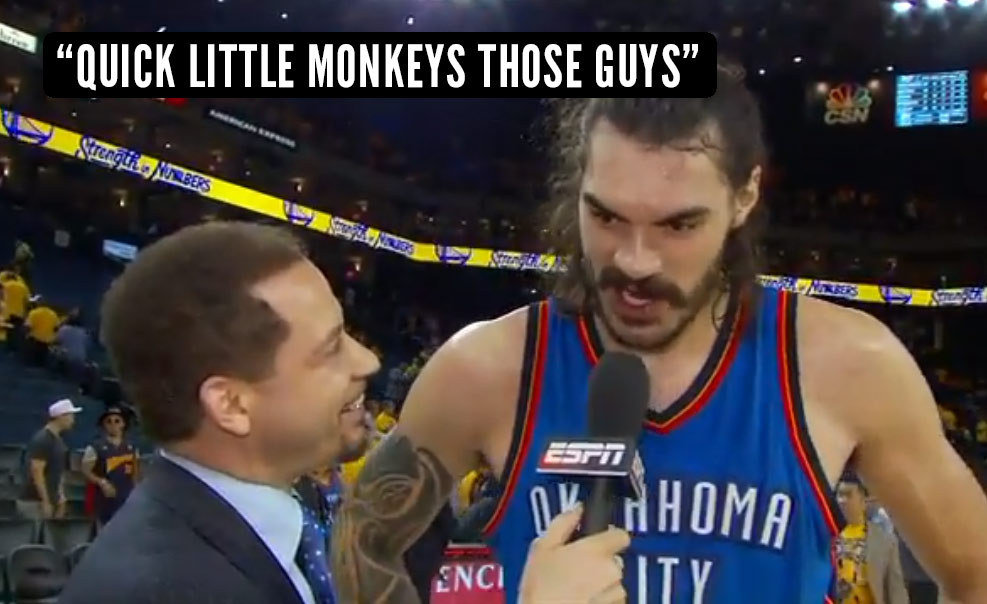 "Steven Adams Apologizes For Calling Warriors ""Quick Little Monkeys"" After GM1"