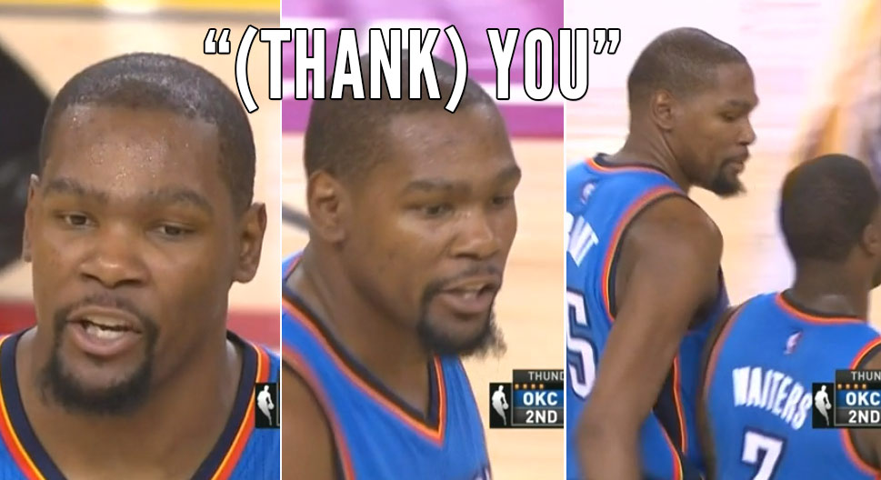 """Lip Readers, Is Kevin Durant Saying """"Thank You"""" To Dion Waiters"""