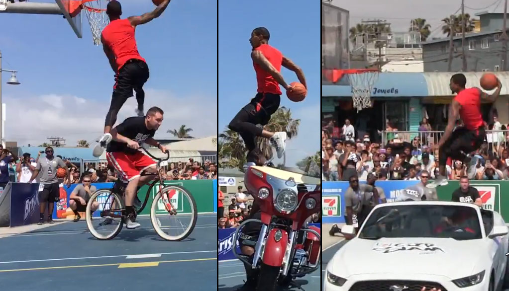 Guy Dupuy Wins City Slam Contest By Dunking Over Cars, Motorcycles & Moving Bicycles!