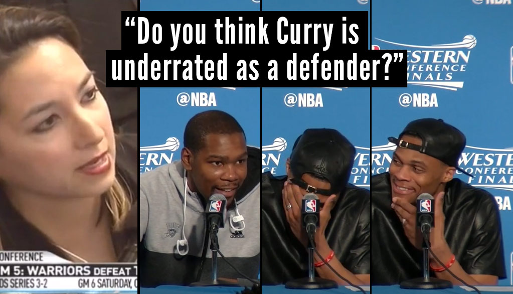 Russell Westbrook & Kevin Durant Laugh When Asked If Curry Is An Underrated Defender