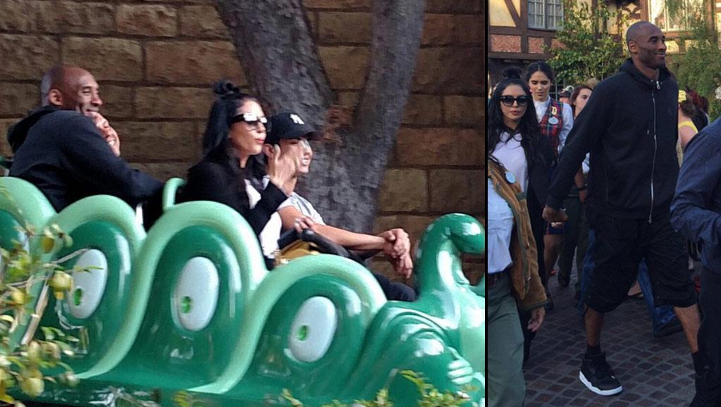 Kobe Bryant Celebrating Retirement At Disneyland With A Mob Fans