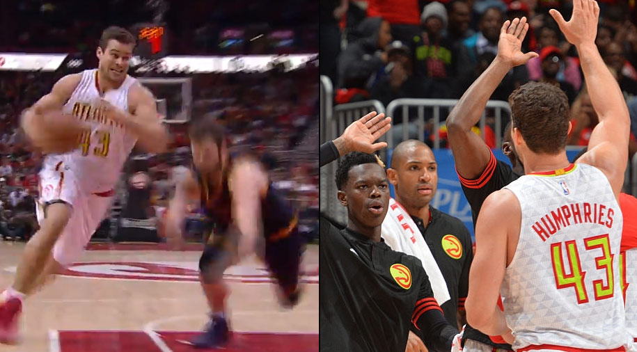 Kris Humphries Drops Kevin Love With An Ankle-Breaking Crossover (it was actually just a wet spot)