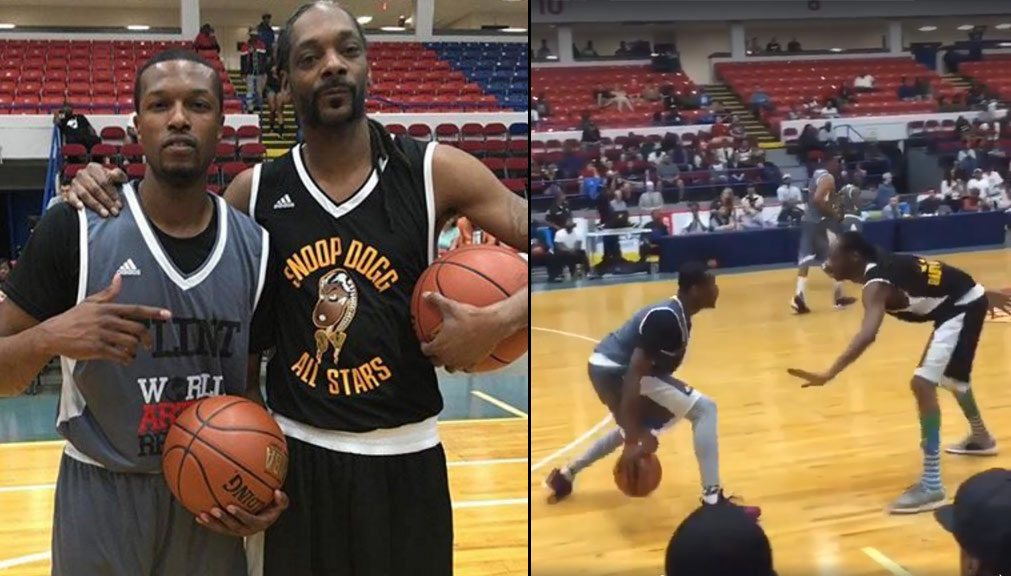 Pat The Roc Nutmegs Snoop Dogg in Flint Hoop 4 Water Charity Game