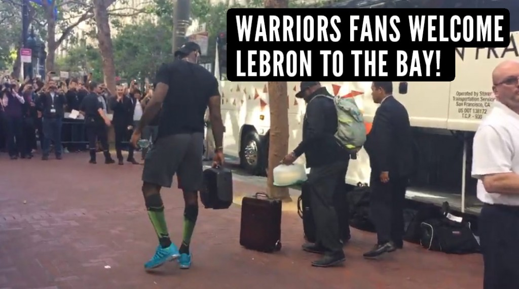 Warriors Fans Boo LeBron & His Tiny Suitcase When He Gets Off Bus