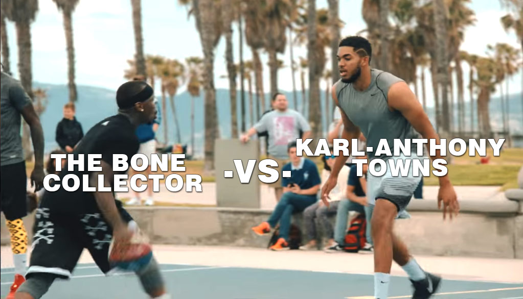 Streetball Legend Bone Collector vs Karl-Anthony Towns at Venice Beach