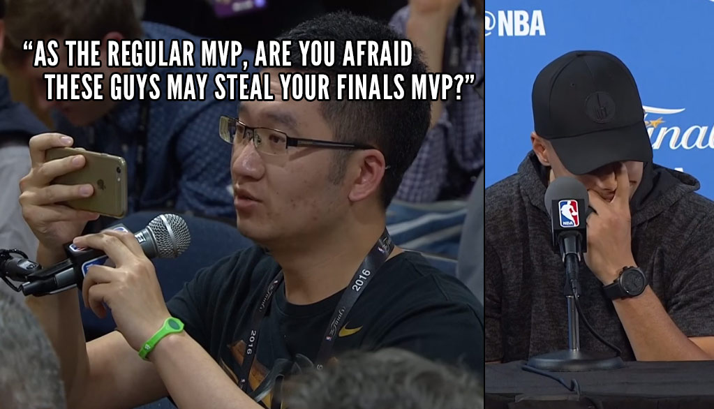 Annoying Reporter Asks Steph Curry If He's Afraid Of Losing The Finals MVP To A Teammate