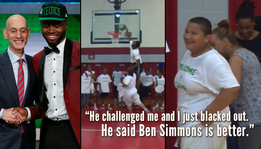 Celtics Rookie Jaylen Brown Dunks On Kid For Saying Ben Simmons Is Better Than Him