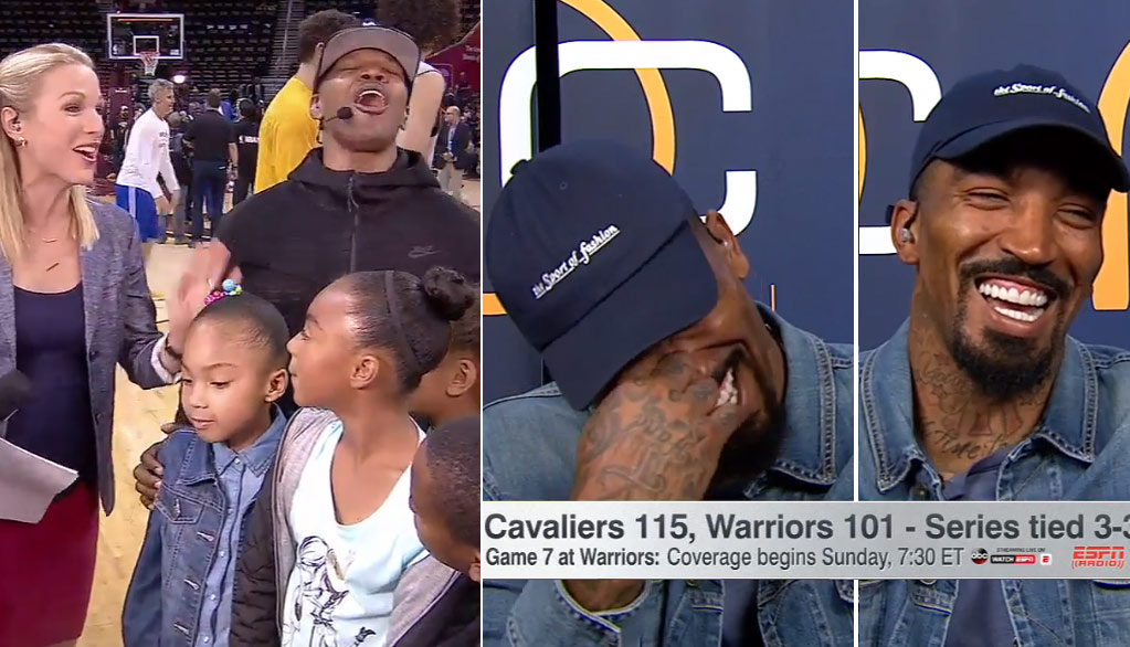JR Smith's Priceless Reaction To Daughter Saying She Was Proud He Didn't Get Kicked Off The Team
