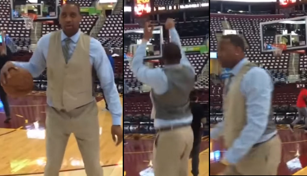 """Tracy McGrady Does His Best """"Steph Curry No-Look 3"""" Impersonation While Wearing A Suit"""