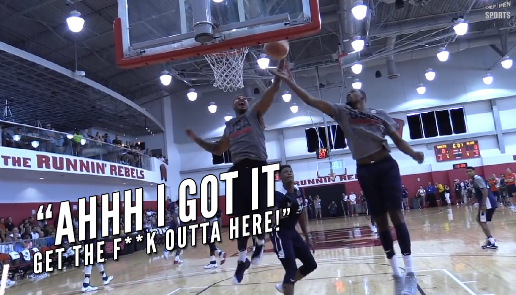 Carmelo Anthony Got Really Excited About Grabbing This Rebound From Durant During USA Practice