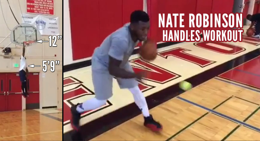 5'9 Nate Robinson Handles Workout + Dunking On A 12 FT Goal With A Tennis Ball