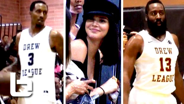 James Harden & Brandon Jennings Show OUT In-front of Kendall Jenner at Drew League!