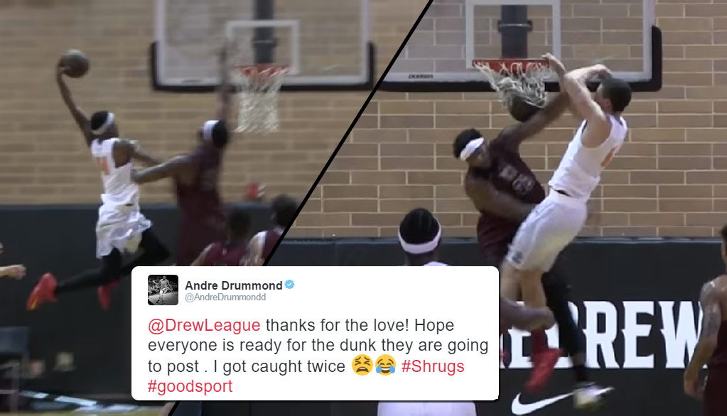 Andre Drummond Gets DUNKED ON TWICE At The Drew League!