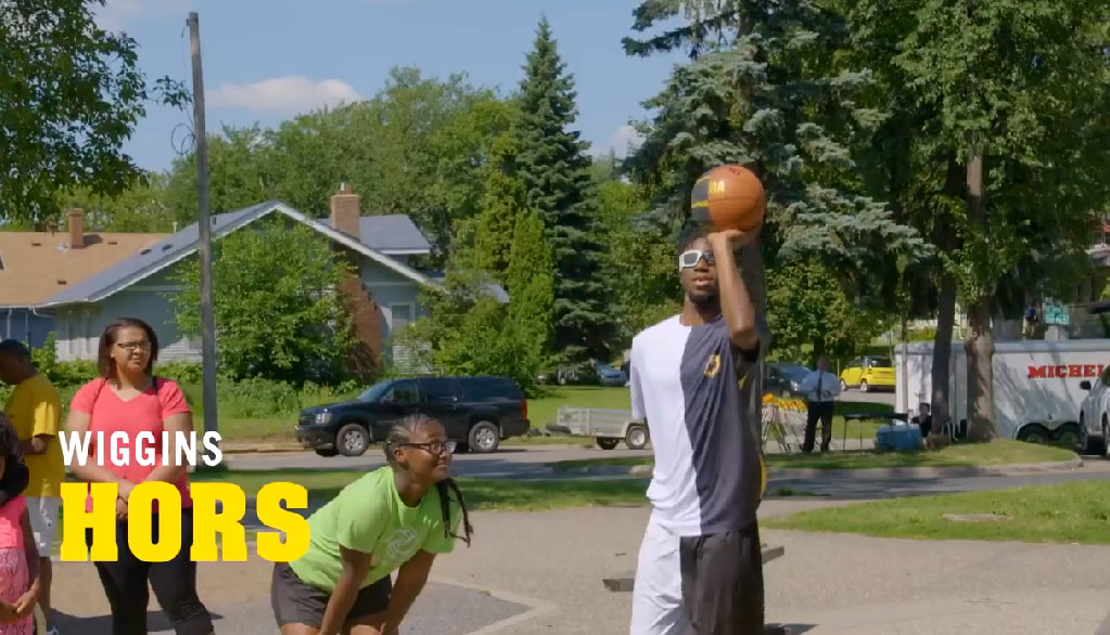 Andrew Wiggins plays chicken wing customers in HORSE using only half of his body