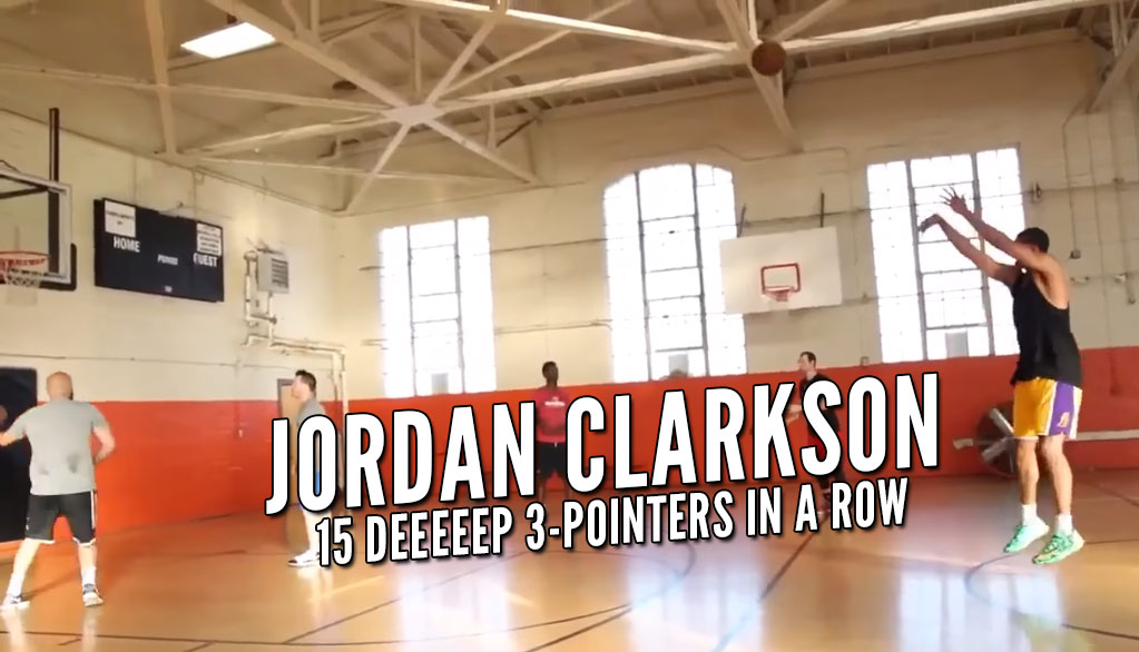 Training With Drew: Jordan Clarkson Drains 15 Near Half-Court 3s In A Row