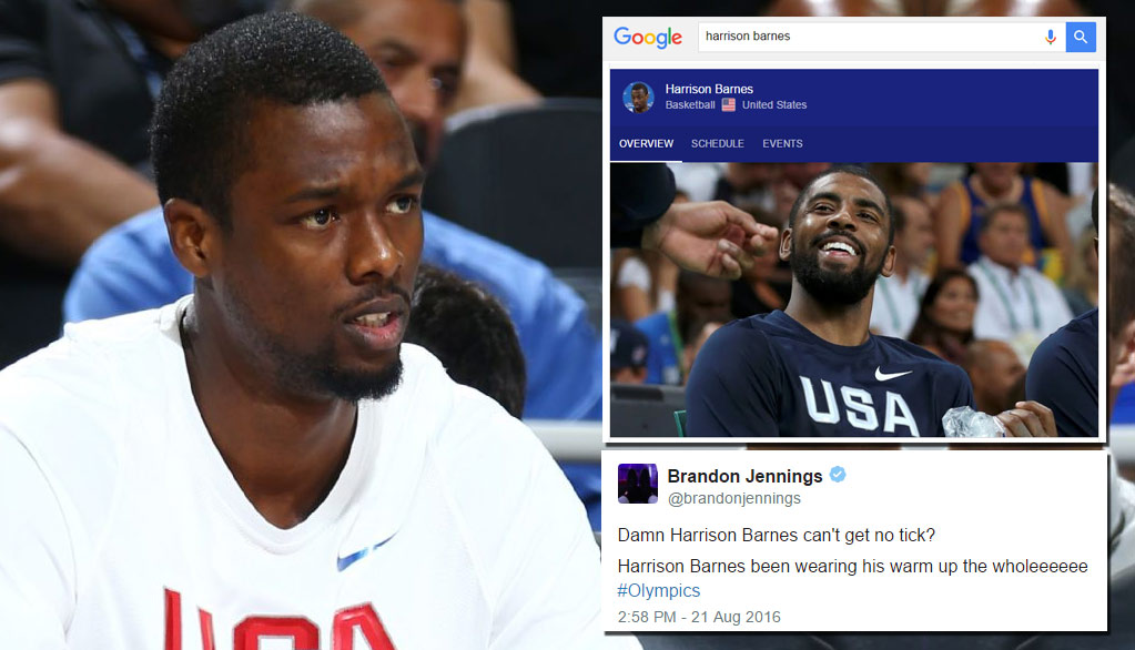 Brandon Jennings, Twitter & Even Google Clowned Harrison Barnes For Not Getting Minutes In The Olympics