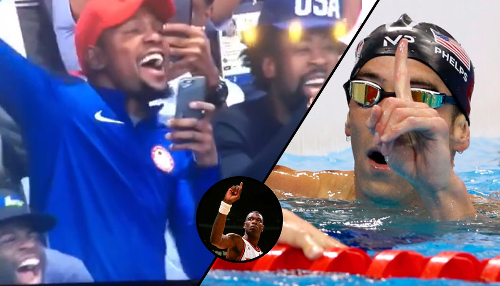 "KD & Team USA Celebrating Michael ""Mutombo"" Phelps Winning His 20th Gold"
