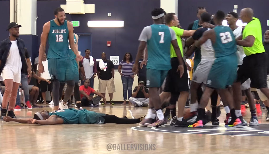 Elbow & Hilarious Flop Almost Causes A Fight During Drew League Championship