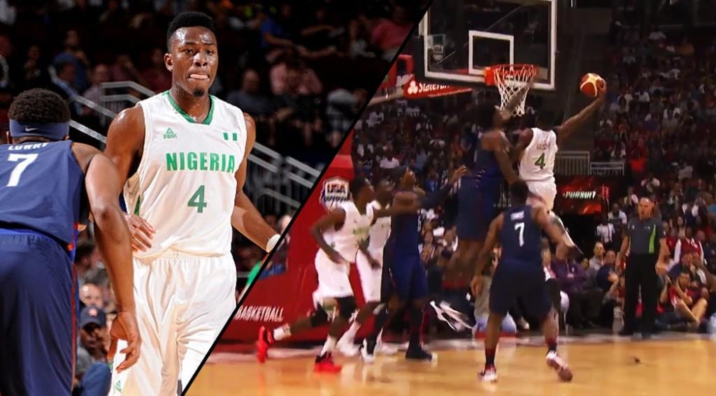 6'3 Former Raptor Ben Uzoh Dunks On DeAndre Jordan in USA vs Nigeria Game
