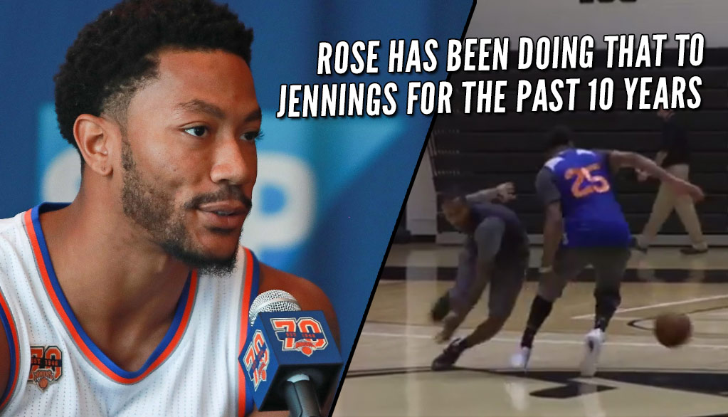 Derrick Rose Puts Brandon Jennings On Skates During Knicks Practice